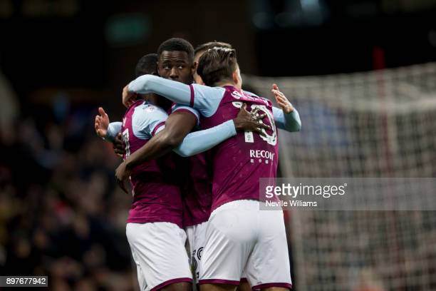 Albert Adomah of Aston Villa scores a penalty of Aston Villa during the Sky Bet Championship match between Aston Villa and Sheffield United at Villa...