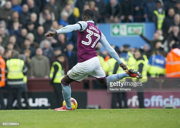 Albert Adomah of Aston Villa scores for Aston Villa during the Sky Bet Championship match between Aston Villa and Preston North End at Villa Park on...