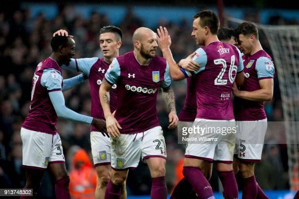 Albert Adomah of Aston Villa scores for Aston Villa during the Sky Bet Championship match between Aston Villa and Burton Albion at Villa Park on...