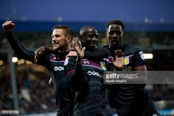 Albert Adomah of Aston Villa scores his second goal for Aston Villa during the Sky Bet Championship match between Queens Park Rangers and Aston Villa...