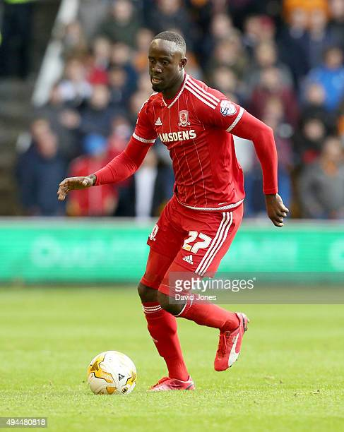 Albert Adomah of Middlesborough in action during the Sky Bet Championship match between Wolverhampton Wanderers and Middlesborough at Molineux...