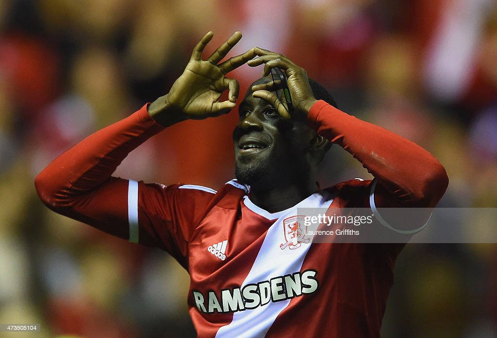 Albert Adomah of Middlesbrough celebrates as they reach the final after the Sky Bet Championship Playoff semi final second leg match between Middlesbrough and Brentford at the Riverside Stadium on May 15, 2015 in Middlesbrough, England. Boro won the match 3-0 and 5-1 on aggregate.