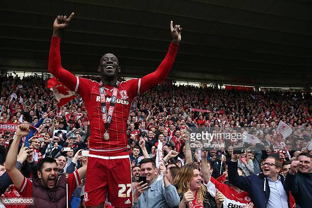Albert Adomah of Middlesbrough celebrates following the Sky Bet Championship match between Middlesbrough and Brighton and Hove Albion at the...