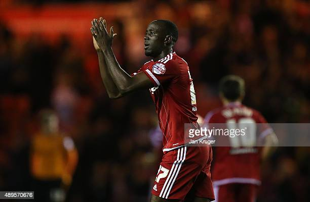 Albert Adomah of Middlesbrough celebrates his goal during the Capital One Cup third round match between Middlesbrough and Wolverhampton Wanderers at...