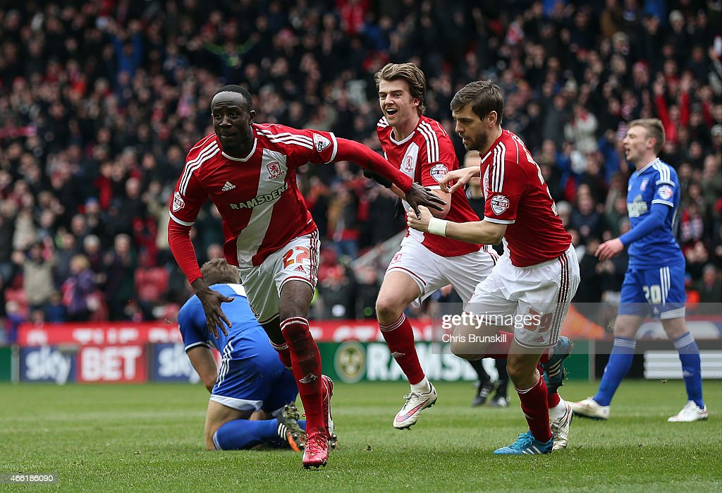 Albert Adomah of Middlesbrough celebrates scoring his side's second goal during the Sky Bet Championship match between Middlesbrough and Ipswich Town at the Riverside Stadium on March 14, 2015 in Middlesbrough, England.