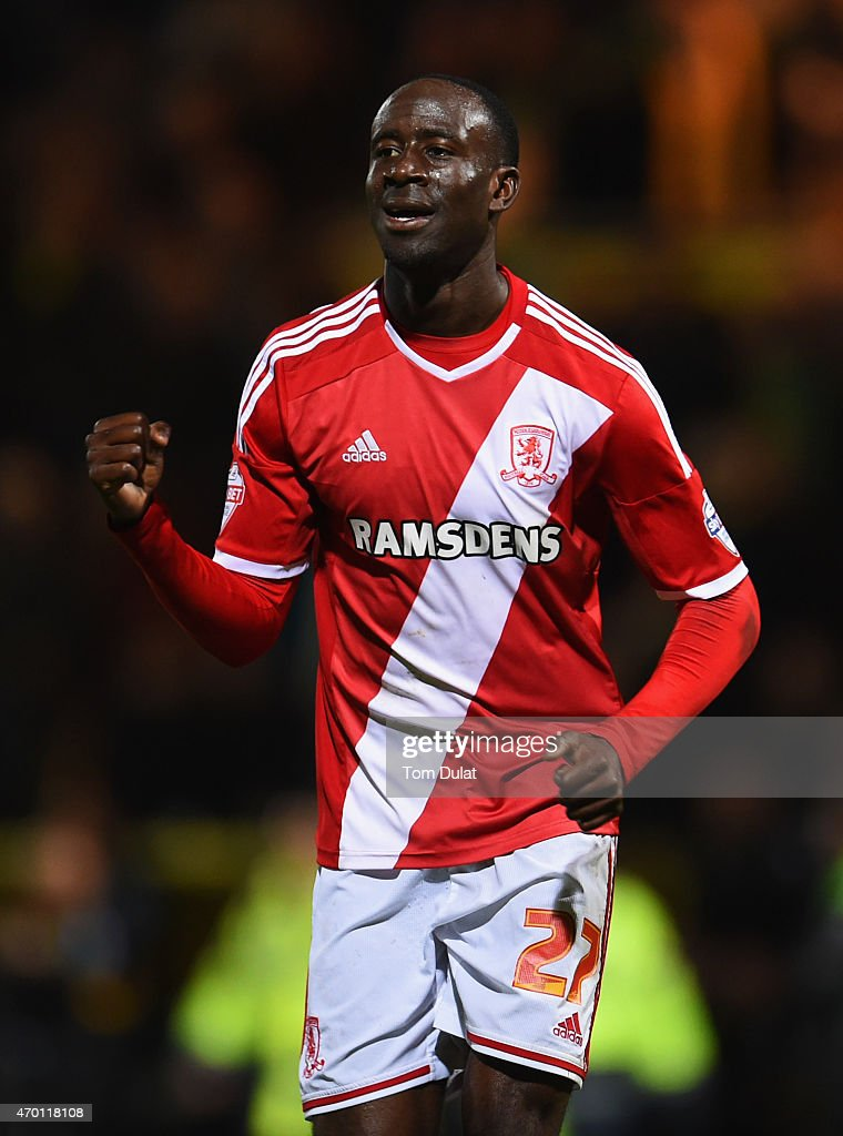 Albert Adomah of Middlesbrough celebrates victory the Sky Bet Championship match between Norwich City and Middlesbrough at Carrow Road on April 17, 2015 in Norwich, England.