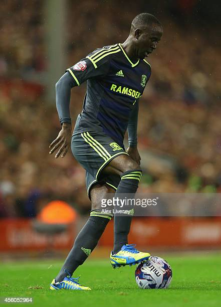 Albert Adomah of Middlesbrough controls the ball during the Capital One Cup Third Round match between Liverpool and Middlesbrough at Anfield on...