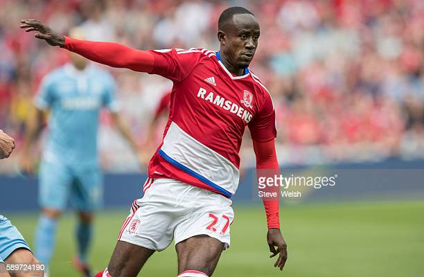Albert Adomah of Middlesbrough during the Premier League match between Middlesbrough and Stoke City on August 13 2016 in Middlesbrough