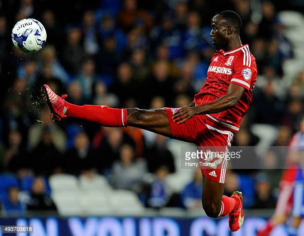 Albert Adomah of Middlesbrough during the Sky Bet Championship match between Cardiff City and Middlesbrough at the Cardiff City Stadium on October 20...