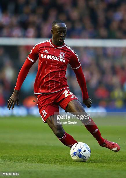Albert Adomah of Middlesbrough during the Sky Bet Championship match between Birmingham City and Middlesbrough at St Andrews on April 29 2016 in...