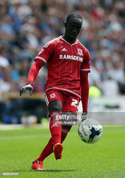 Albert Adomah of Middlesbrough in action during the Sky Bet Championship match between Preston North End and Middlesbrough at Deepdale on August 9...