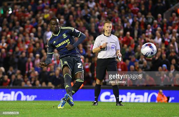Albert Adomah of Middlesbrough misses his penalty during the Capital One Cup Third Round match between Liverpool and Middlesbrough at Anfield on...