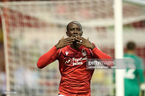 Albert Adomah of Nottingham Forest celebrates after scoring a goal to make it 10 during the Carabao Cup Second Round between Nottingham Forest and...
