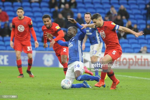 Albert AdomahSam Morsy during the Sky Bet Championship match between Cardiff City and Wigan Athletic at the Cardiff City Stadium on February 15 2020...