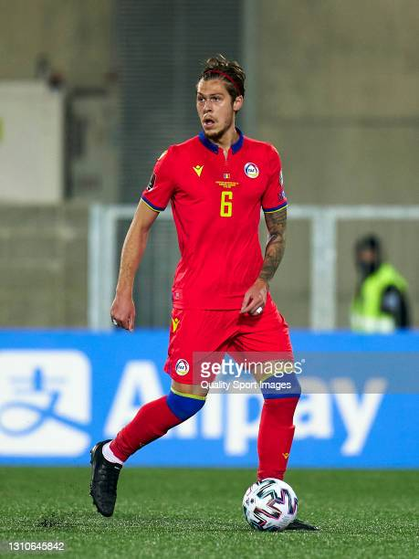 Albert Alavedra of Andorra controls the ball during the FIFA World Cup 2022 Qatar qualifying Group I match between Andorra and Hungary on March 31,...