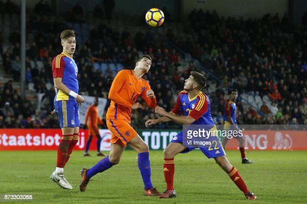 Albert Alavedra of Jong Andorra Justin Hoogma of Jong Oranje Jose Tizon of Jong Andorra during the EURO U21 2017 qualifying match between Netherlands...