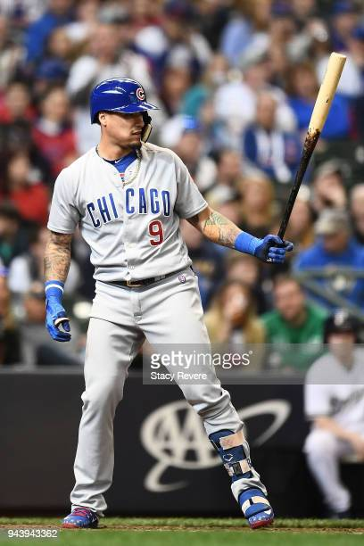 Albert Almora Jr #5 of the Chicago Cubs at bat during a game against the Milwaukee Brewers at Miller Park on April 8 2018 in Milwaukee Wisconsin The...