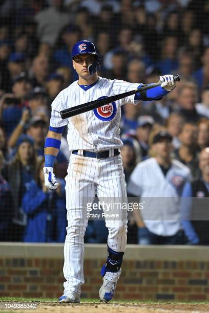 Albert Almora Jr #5 of the Chicago Cubs at bat during the National League Wild Card game against the Colorado Rockies at Wrigley Field on October 2...