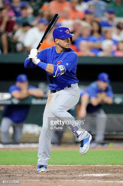 Albert Almora Jr #5 of the Chicago Cubs bats against the Baltimore Orioles at Oriole Park at Camden Yards on July 15 2017 in Baltimore Maryland
