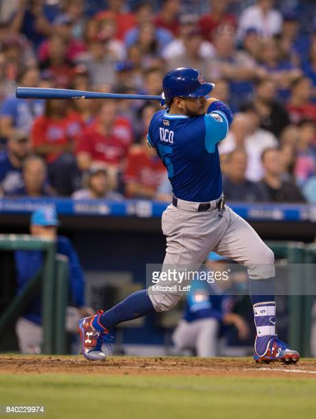 Albert Almora Jr #5 of the Chicago Cubs bats against the Philadelphia Phillies at Citizens Bank Park on August 26 2017 in Philadelphia Pennsylvania...