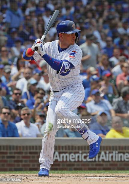Albert Almora Jr #5 of the Chicago Cubs bats against the San Diego Padres at Wrigley Field on August 5 2018 in Chicago Illinois The Padres defeated...