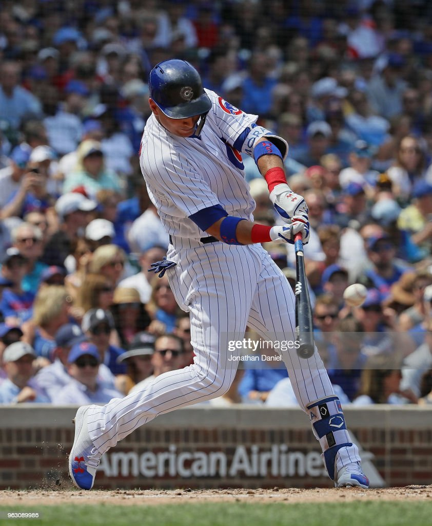 Albert Almora Jr. #5 of the Chicago Cubs bats against the San Francisco Giants at Wrigley Field on May 25, 2018 in Chicago, Illinois. The Cubs defeated the Giants 6-2.