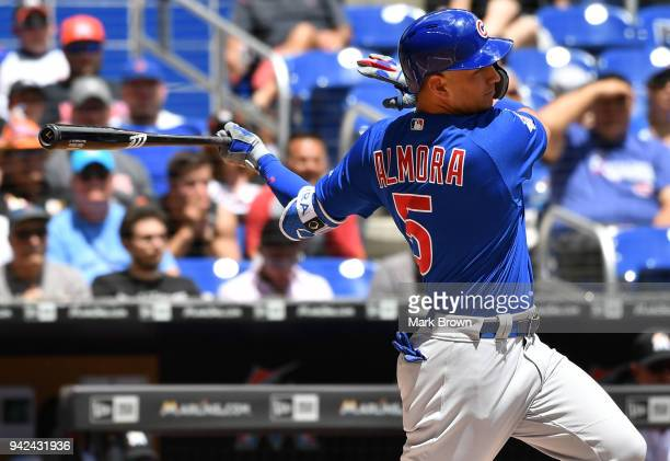 Albert Almora Jr #5 of the Chicago Cubs bats in the first inning during the game against the Miami Marlins at Marlins Park on April 1 2018 in Miami...