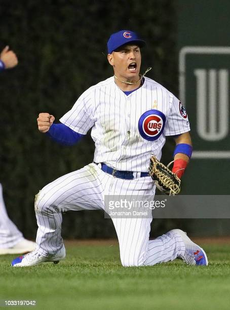 Albert Almora Jr #5 of the Chicago Cubs celebrates after divin to catch a ball hit by Mike Moustakas of the Milwaukee Brewers in the 6th inning at...
