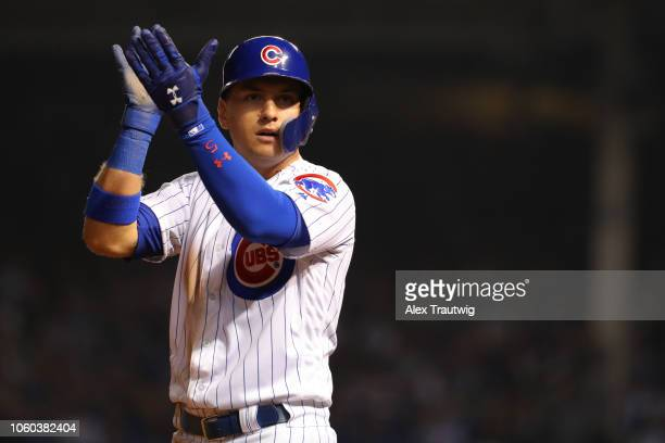Albert Almora Jr #5 of the Chicago Cubs celebrates during the National League Wild Card game against the Colorado Rockies at Wrigley Field on Tuesday...