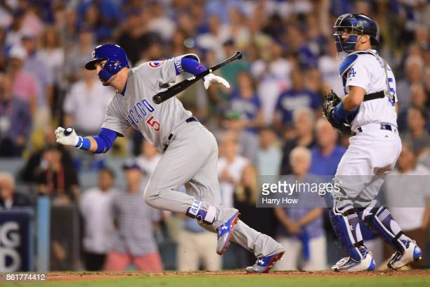 Albert Almora Jr #5 of the Chicago Cubs grounds out in the ninth inning against the Los Angeles Dodgers during game two of the National League...