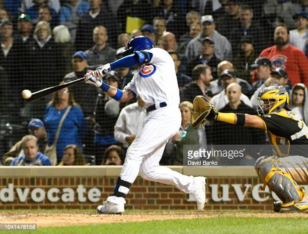 Albert Almora Jr #5 of the Chicago Cubs hits a gamewinning walkoff single against the Pittsburgh Pirates during the tenth inning on September 26 2018...