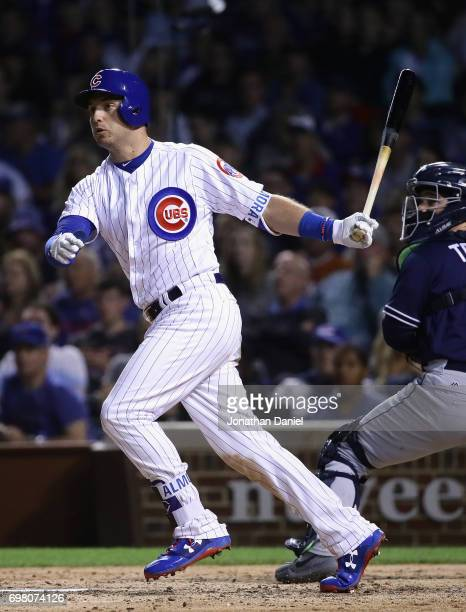 Albert Almora Jr #5 of the Chicago Cubs hits a run scoring double in the7th inning against the San Diego Padres at Wrigley Field on June 19 2017 in...