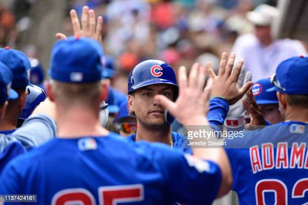 Albert Almora Jr #5 of the Chicago Cubs is congratulated in the dugout after hitting a solo home run in the first inning of the spring training game...