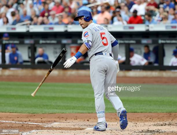 Albert Almora Jr #5 of the Chicago Cubs is walked in the second inning against the New York Mets on June 13 2017 at Citi Field in the Flushing...