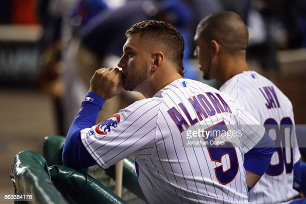 Albert Almora Jr #5 of the Chicago Cubs looks on from the dugout after losing to the Los Angeles Dodgers 111 in game five of the National League...