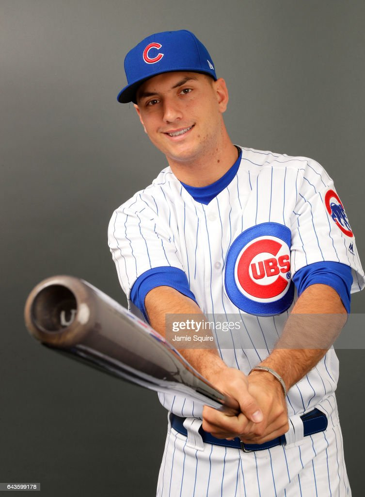 Albert Almora Jr. #5 of the Chicago Cubs poses during Chicago Cubs Photo Day on February 21, 2017 in Mesa, Arizona.