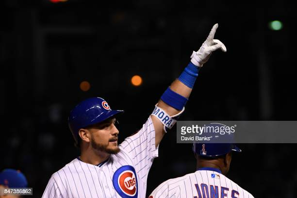 Albert Almora Jr #5 of the Chicago Cubs reacts after hitting a threeRBI triple against the New York Mets during the eighth inning on September 13...