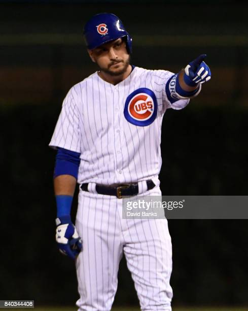 Albert Almora Jr #5 of the Chicago Cubs reacts after hitting an RBI double against the Pittsburgh Pirates during the eighth inning on August 28 2017...