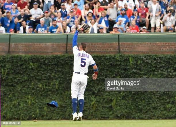 Albert Almora Jr #5 of the Chicago Cubs reacts after making a catch on Francisco Pena of the St Louis Cardinals during the fourth inning during game...