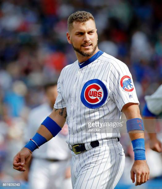 Albert Almora Jr #5 of the Chicago Cubs reacts at the end of the fifth inning against the St Louis Cardinals at Wrigley Field on September 17 2017 in...
