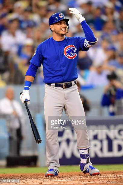 Albert Almora Jr #5 of the Chicago Cubs reacts to a pitch thrown by Clayton Kershaw of the Los Angeles Dodgers during the fourth inning in Game One...