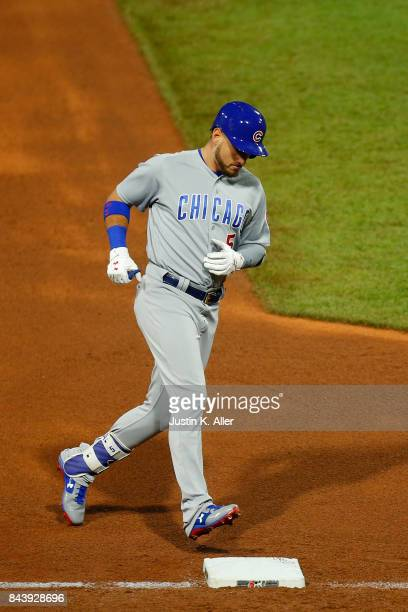 Albert Almora Jr #5 of the Chicago Cubs rounds third after hitting a two run home run in the seventh inning against the Pittsburgh Pirates at PNC...