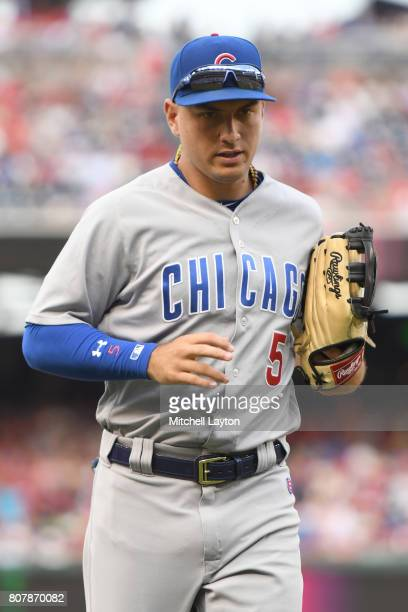Albert Almora Jr #5 of the Chicago Cubs runs back to the dug out during a baseball game against the Washington Nationals at Nationals Park on June 29...