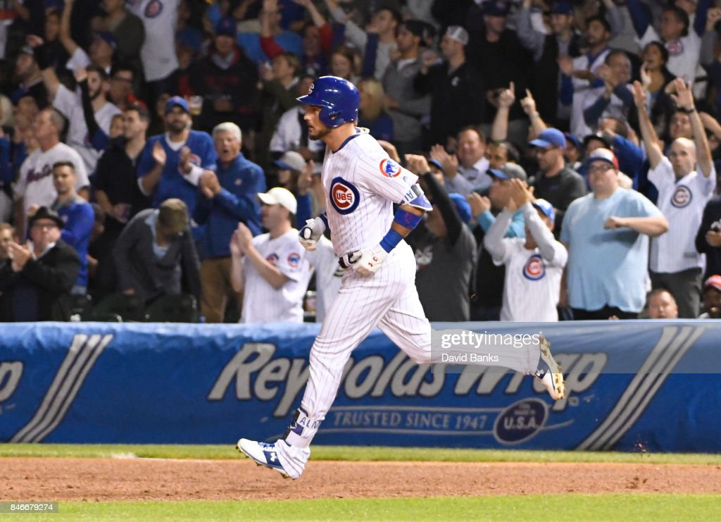 Albert Almora Jr. #5 of the Chicago Cubs runs the bases after hitting a three-run homer against the New York Mets during the seventh inning on September 13, 2017 at Wrigley Field in Chicago, Illinois.
