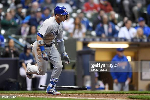 Albert Almora Jr #5 of the Chicago Cubs runs to first base during a game against the Milwaukee Brewers at Miller Park on April 5 2018 in Milwaukee...