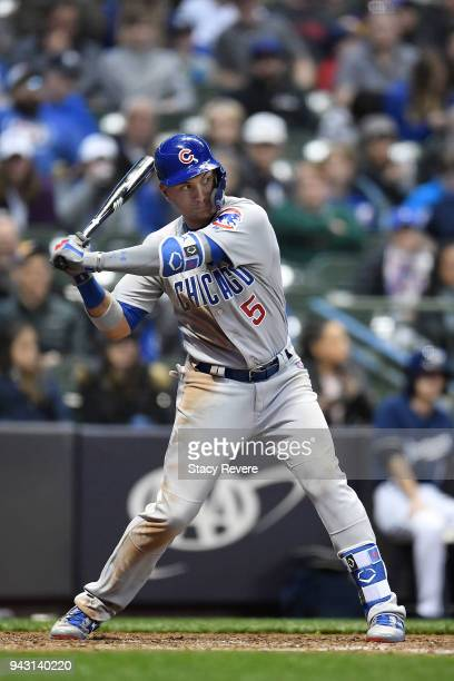 Albert Almora Jr #5 of the Chicago Cubs swings at a pitch during a game against the Milwaukee Brewers at Miller Park on April 5 2018 in Milwaukee...