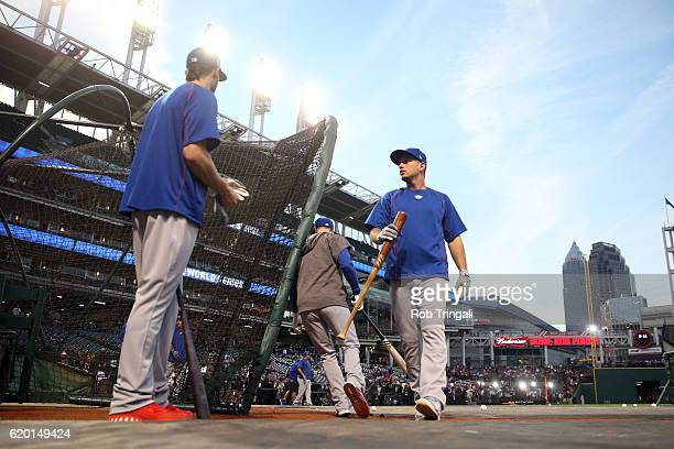 Albert Almora Jr #5 of the Chicago Cubs walks out of the cage during batting practice before Game 6 of the 2016 World Series against the Cleveland...