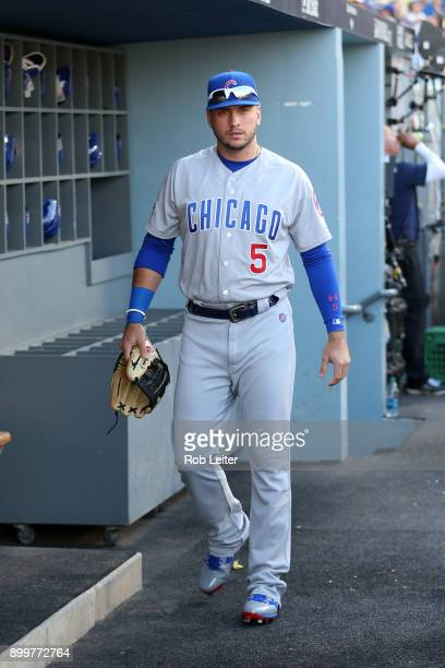 Albert Almora Jr #5 of the Chicago Cubs walks through the dugout before Game 2 of the National League Championship Series against the Los Angeles...