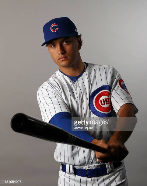 Albert Almora Jr #5 poses for a portrait during Chicago Cubs photo day on February 20 2019 in Mesa Arizona