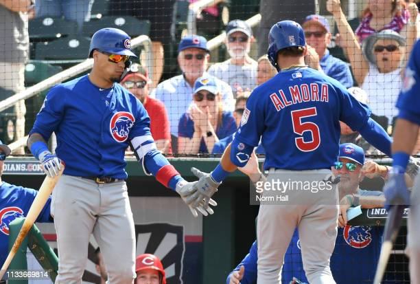 Albert Almora Jr of the Chicago Cubs is congratulated by teammate Javier Baez after hitting a solo home run during the first inning against the...